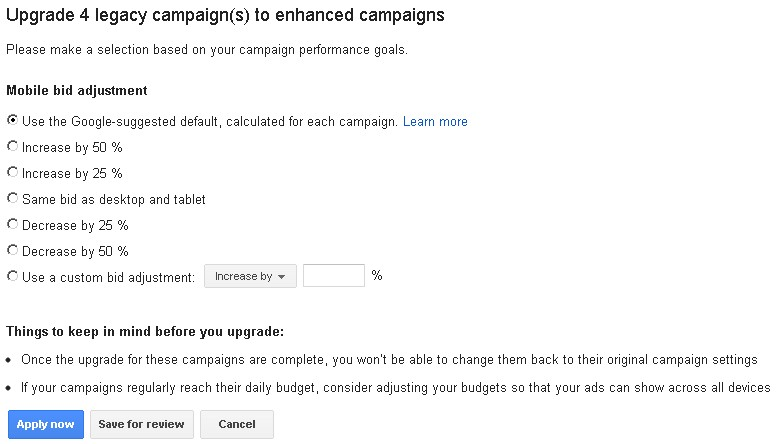 Upgrade To Enhanced Campaigns