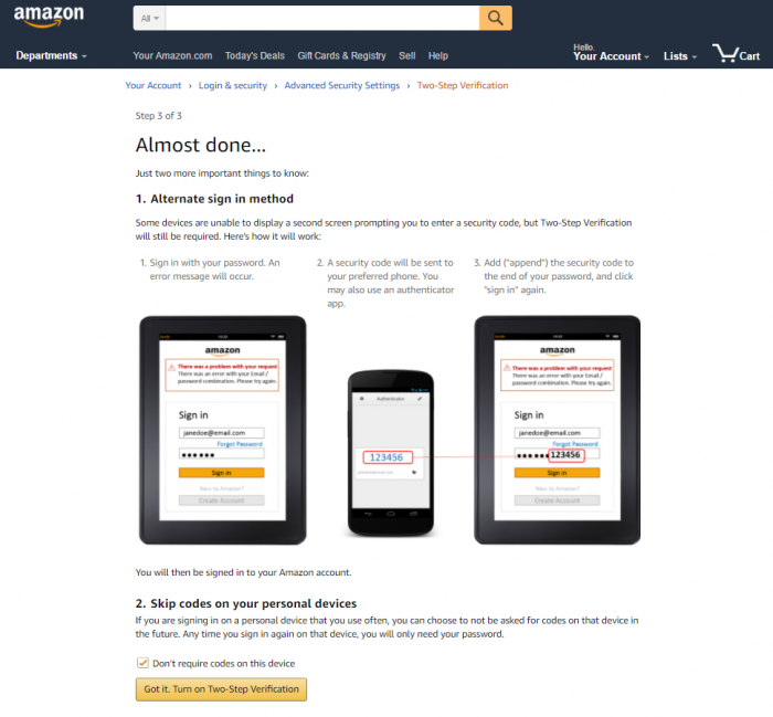 Amazon - How to Enable Two-Step Verification