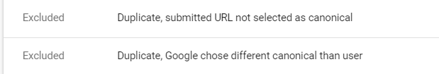 Google Search Console screenshot with excluded URLs
